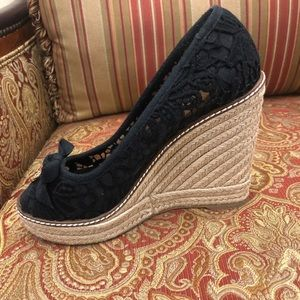 Tory Burch Jackie Lace Espadrille Wedge in black